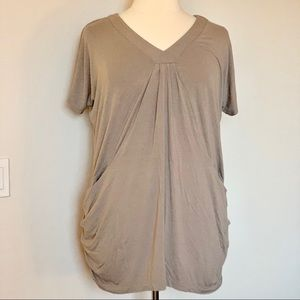 INC Ruched Tunic With Pockets | Putty Color